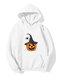 Halloween Printed Long Sleeve Hoodie For Women - White