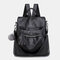Women Solid Large Capacity Anti theft Casual Shoulder Bag Backpack - Black
