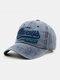 Hommes Coton Lavé Lettre Motif Patch Casquette De Baseball Pare-Soleil Extérieur Chapeaux Réglables - Marine