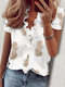 Stringy Selvedge Solid Color Print Short Sleeve Blouse - #04