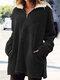 Solid Color Zipper Pocket Plush Long Sleeve Casual Coat for Women - Black