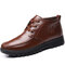 Men Comfy Non Slip Warm Lined Soft Sole Business Casual Boots - Brown