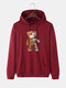 Mens Cartoon Bear Graphic Cotton Drawstring Hoodies With Pouch Pocket - Wine Red
