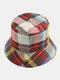 Women & Men Plaid Pattern Retro Port Style Windproof Soft All-match Travel Bucket Hat - #07