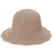 Womens Foldable Hollow Solid Bucket Cap Wild Breathable Outdoor Travel Sun Straw Hat - Khaki