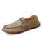 Men Leather Hand Stitching Wearable Pure Color Casual Driving Shoes - Khaki