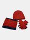 男性2 / 3PCSPlusベルベット暖かく冬の首の保護ヘッドギアスカーフフルフィンガーグローブニット帽ビーニー - #09