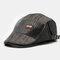 Men Stripe Leather Patchwork Fashion Beret Flat Cap Personality Forward Hat - Black