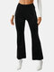 Solid Color Elastic Waist Flared Casual Pants For Women - Black