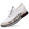 Men Lace-up Letter Pattern Non Slip Driving Business Casual Shoes - White
