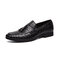 Mens Embossing Tassel Decor Comfy Wearable Casual Formal Dress Loafers - Black