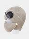 Men & Women Plus Velvet Thick Warm Neck Face Ear Protection Headgear Knitted Hat Mask Pilot Glasses - Khaki