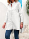 Solid Color Long Sleeves O-neck Button Blouse - White