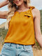 Solid O-neck Sleeveless Bowknot Tank Top for Women - Yellow
