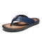 Men PU Leather Hard Wearing Backless Clip Toe Slippers - Blue