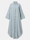 Solid Color Hollow Button Pocket Long Sleeve Casual Dress for Women - Light blue