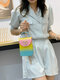 Casual Stylish Gradient Color Heart-shaped Flap Pyramid Pattern PVC Jelly Bag Clutch Shoulder Bag - #05