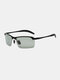 Men Metal Square Half Frame Smart Color-changing Polarized Anti-UV Sunglasses - #04