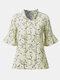 Little Daisies Printed Shirt Bow Flared Sleeve Shirt - Apricot