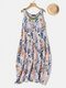 Vinatge Print Double-Layer Summer Plus Size Dress with Pockets - White