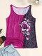 Camiseta sin mangas con cuello redondo y estampado de rosas para Mujer - púrpura