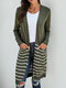 Striped Pocket Long Sleeve Casual Cardigan For Women - Green