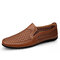 Men Breathable Mesh Fabric Patchwork Hard Wearing Driving Shoes - Brown