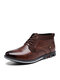 Men Large Size Retro Comfy Lace Up Business Casual Ankle Leather Boots - Brown