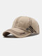Men Cotton Stitching Letter Embroidery Metal Anchor Label Casual Sun Protection Baseball Caps - Khaki