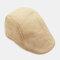 Mens Breathable Painter Beret Caps Casual Outdoor Visor Forward Hat - Beige
