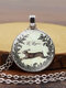 Easter Vintage Round Glass Printed Necklace Cute Bunny Pendant Necklace Jewelry Gift - #02