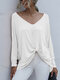 Solid Color Long Sleeve V-neck Loose Women Casual T-shirt - White