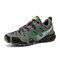 Men Comfy Camo Pattern Lace-up Hard Wearing Non Slip Hiking Shoes - Dark Gray