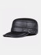 Men Cowhide Genuine Leather Military Cap Earflap Flat Cap - #01