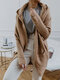 Solid Color Hooded Sweater Coat With Side Pockets For Women - Khaki
