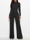 Solid Color Patchwork Long Sleeve Casual Jumpsuit for Women - Black