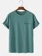 メンズ綿100%キャラクタープリントクルーネック半袖Tシャツ - 青