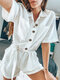 Solid Color Knotted Front Button Short Sleeve Rompers - White