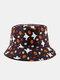 Halloween Unisex Cotton Overlay Cartoon Pumpkin Ghost Pattern Print Funny Sunshade Bucket Hat - Purple