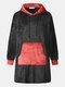 Men Fleece Hooded Colorblock Blanket Robes Contrast Heated Warm Oversied Blanket Hoodies with Pockets - Black