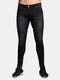 Casual Pants Patchwork Ripped Stone Washed Jeans Denim Pants for Men - Black