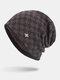 男性冬Plusベルベットコントラストチェック柄パターン屋外ニット暖かいビーニー帽子 - コーヒー