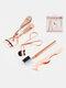 4 Pcs Eyebrow Trimming Set Eyebrow Comb Eyelash Curler Beauty Tool - Rose Gold