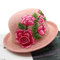 Women Embroidery Printed Straw Hat Ethnic Style Retro Sun Hat - Pink