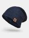 メンズウールPlus厚手の冬は暖かく防風ニット帽を保つ - ネービー