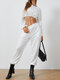 Solid Color Drawstring Long Sleeve T-shirt Pants Casual Set for Women - White