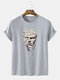 Mens Funny Figure Statue Graphic Street Short Sleeve T-Shirts - Gray