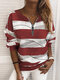 Striped Print Zipper Long Sleeves Casual Sweatshirts for Women - Red