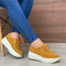 Women's Soft Lace-up Casual Large Size Wedges Sports Shoe - Yellow