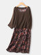 Vintage Floral Print Fake Two Pieces Plus Size Dress with Pocket - Coffee